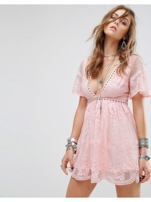 Kiss The Sky Lace Dress With Ladder Detail