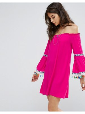 Kiss The Sky Off Shoulder Dress With Festival Pom Trim