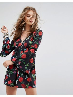 Kiss The Sky Swing Dress With Flared Sleeves And Tie Back In Floral Print
