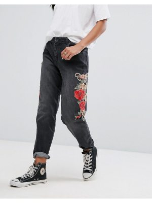 Kubban Floral Embroidered Side Mom Jeans