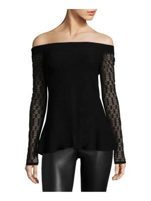 L'AGENCE off-the-shoulder lace knitted top