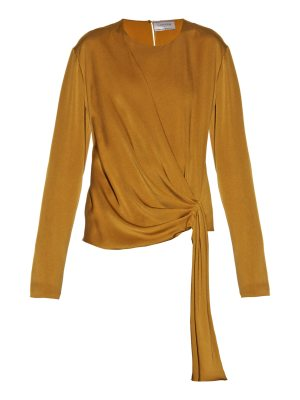 Lanvin Draped-front satin-crepe blouse