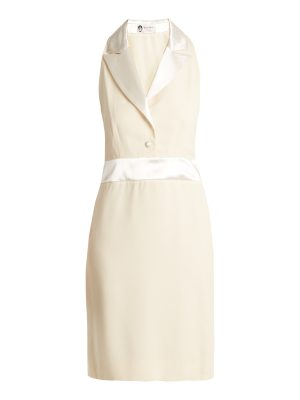 Lanvin Peak-lapel satin-trimmed crepe dress