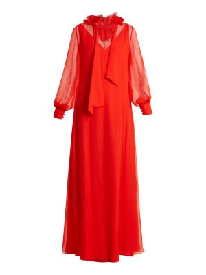 Lanvin Ruffled-collar waist-tie silk-mousseline gown