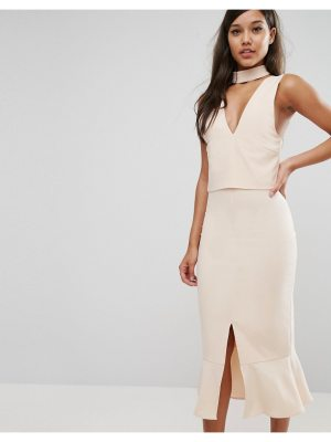 Lavish Alice Choker Detail Flounce Hem Midi Dress