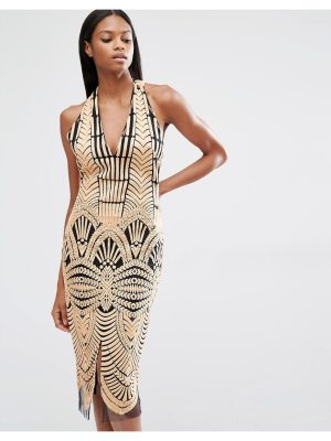 Lavish Alice Embroidered Mesh Halterneck Open Back Midi Dress