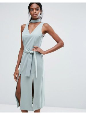 Lavish Alice Keyhole Tie Belt Double Split Midi Dress