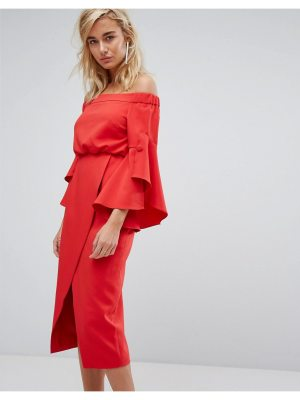Lavish Alice Off The Shoulder Midi Dress With Bell Frill Sleeves