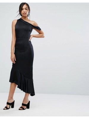Lavish Alice Satin One Shoulder Asymmetric Hem Dress