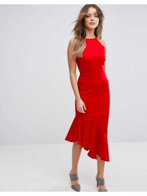 Lavish Alice Satin Waterfall Hem Midi Dress