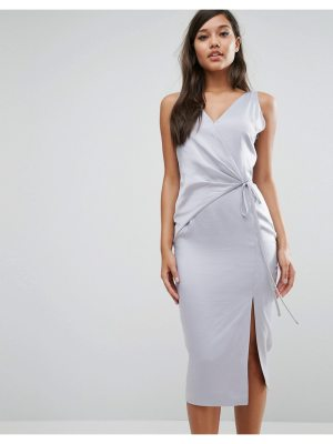 Lavish Alice Satin Wrap Tie Midi Dress