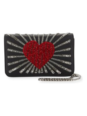 les petits joueurs Ginny Heart Leather Shoulder Bag