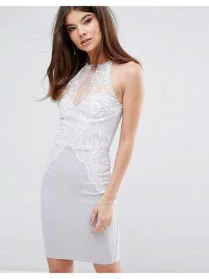 Lipsy Bodycon Dress With Eyelash Lace Trim