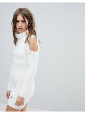 Lipsy Cold Shoulder Sweater Dress with Pearl Trim