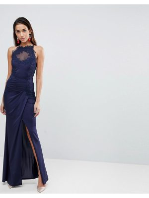 Lipsy High Neck Maxi Dress With Metallic Lace Trim