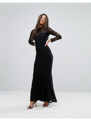 Lipsy Highneck Fishtail Maxi Dress with Lace Sleeves