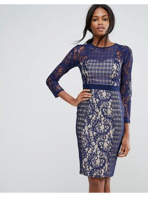 Little Mistress 3/4 Sleeve Contrast Lace Shift Dress