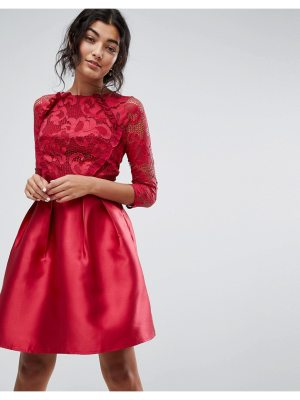 Little Mistress 3/4 sleeve satin skater dress with lace upper