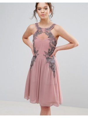 Little Mistress chiffon skater dress with embellished detail