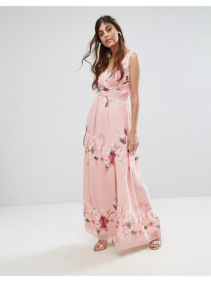 Little Mistress Plunge Front Maxi Dress in Floral Print