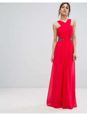 Little Mistress Wrap Front Maxi Dress With Embellished Waist