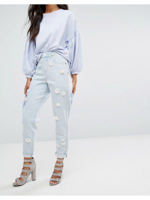 Lost Ink Mom Jeans With Floral Embellishment