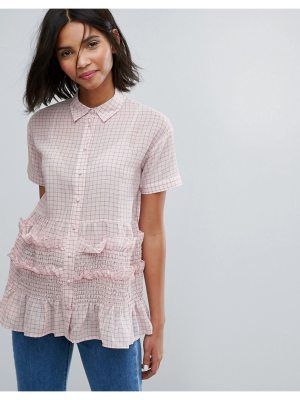 Lost Ink Shirt With Shirring In Gingham