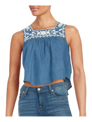 Lovers + Friends Denim Crop Tank Top