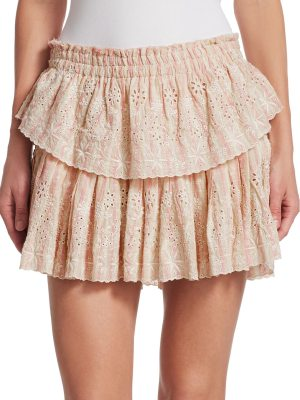 LOVESHACKFANCY ruffle eyelet mini skirt