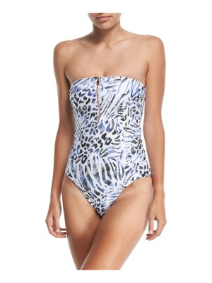 Luxe by Lisa Vogel Prowl Strapless Bandeau Printed Maillot One-Piece Swimsuit