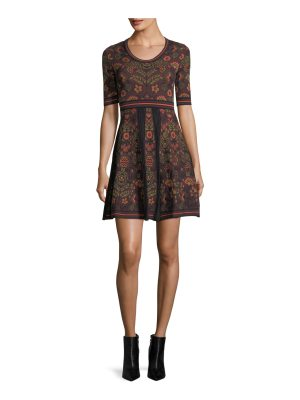 M Missoni Elbow-Sleeve Floral Jacquard Knit Dress