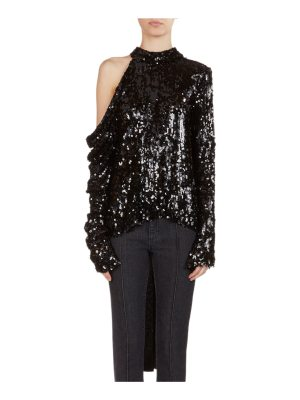 Magda Butrym Oxford Sequined Cold-Shoulder Top