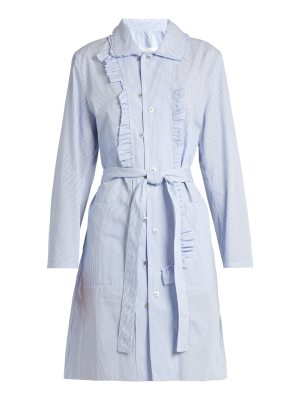 Maison Margiela Asymmetric-ruffle striped cotton-poplin dress