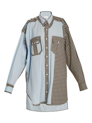 Maison Margiela Oversized gingham checked-trim cotton shirtdress