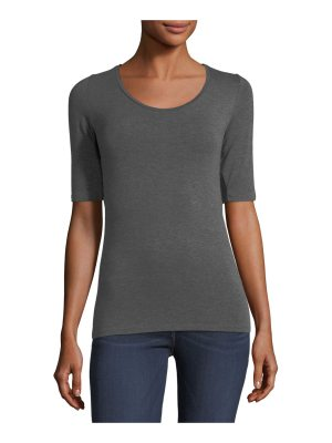 Majestic Paris for Neiman Marcus Soft Touch Half-Sleeve Scoop-Neck Top