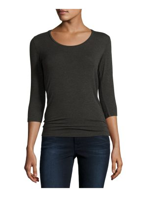 Majestic Paris for Neiman Marcus Soft Touch 3/4-Sleeve Scoop-Neck Tee