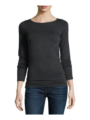 Majestic Paris for Neiman Marcus Soft Touch Marrow-Edge Long-Sleeve Top