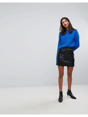 Mango Button Front Mini Skirt With Zip Pockets