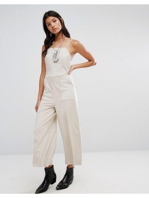Mango Cropped Leather Look Jumpsuit