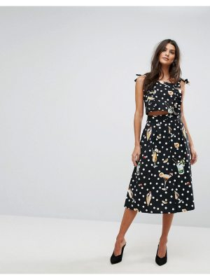 Mango Dot And Floral Midi Skirt