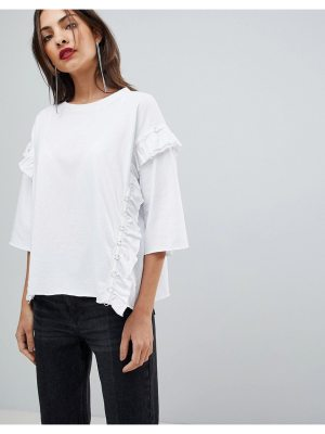 Mango Eyelet And Frill Detail Top