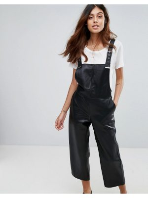 Mango Faux Leather Overalls