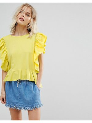 Mango Frill Front Jersey Top