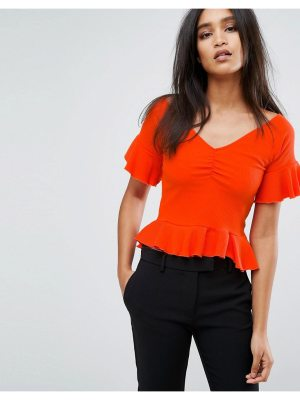 Mango Off The Shoulder Frill Hem And Sleeve In Rib