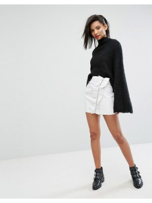Mango Ruffle Side Vinyl Mini Skirt