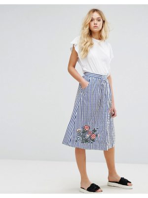 Mango Stripe And Embroidered Skirt