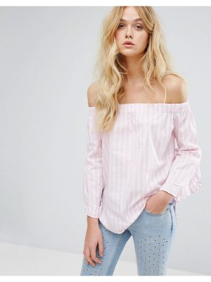 Mango Stripe And Frill Sleeve Off The Shoulder Top
