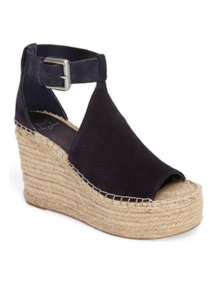MARC FISHER LTD annie perforated espadrille platform wedge