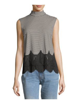 Marc Jacobs Mock-Neck Sleeveless Striped Top with Fringe