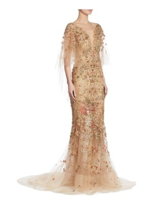 Marchesa embellished cape gown